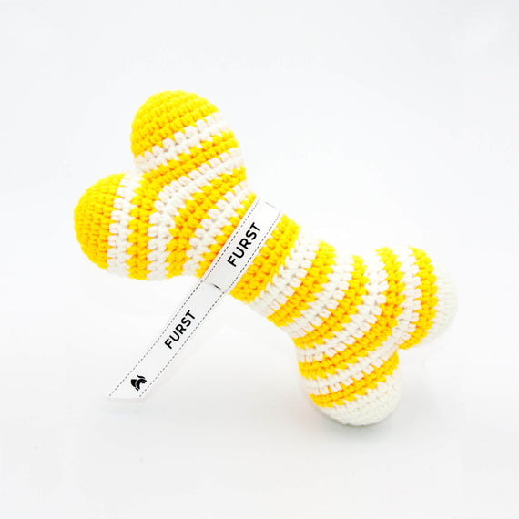 FURST - High-end Atlas dog toys in the form of bones in cobalt yellow color