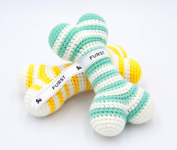 FURST - High-end Atlas dog toys in the form of bones in cobalt yellow and sea green colors