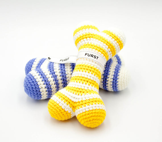 FURST - High-end Atlas dog toys in the form of bones in cobalt yellow and azure blue colors