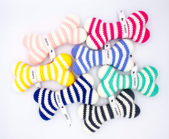 FURST - High-end Atlas dog toys in the form of bones in azure blue, raspberry, cobalt yellow, anthracite, sea green, powder pink and royal blue colors