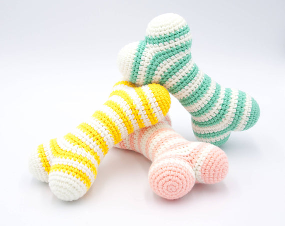 FURST - High-end Atlas dog toys in the form of bones in powder pink, cobalt yellow and sea green colors