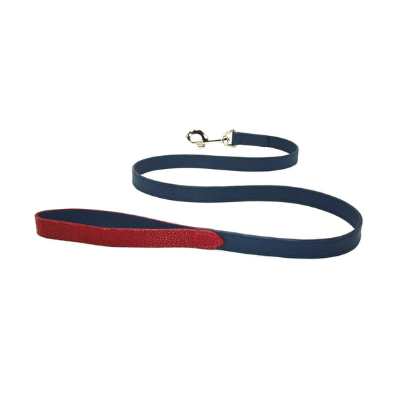FURST - High quality dog leash in shagreen and high quality leather in midnight blue colors