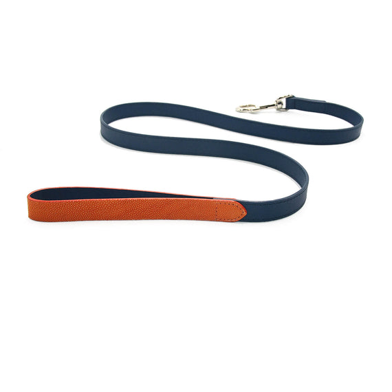 FURST - High quality dog ​​leash in shagreen and high quality leather in midnight blue colors