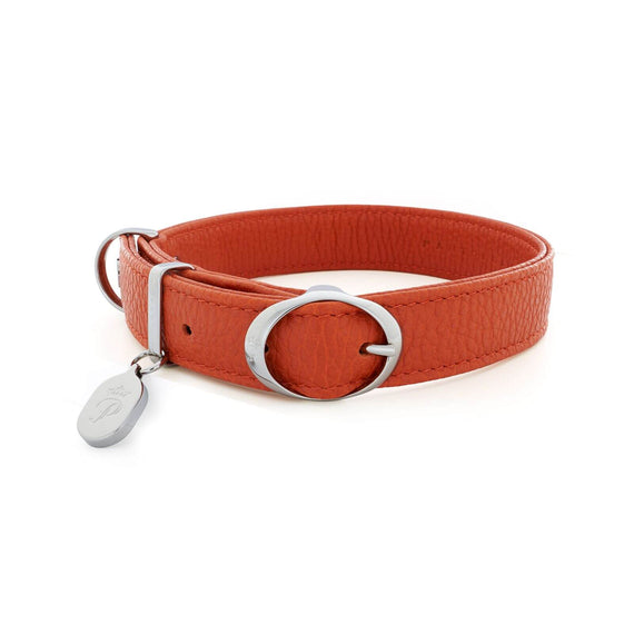 FURST - Necklace Caramelle high-end for medium and large dog in high quality Italian leather in orange color