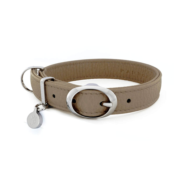 FURST - Necklace Caramelle high-end for medium and large dog in high quality Italian leather taupe color