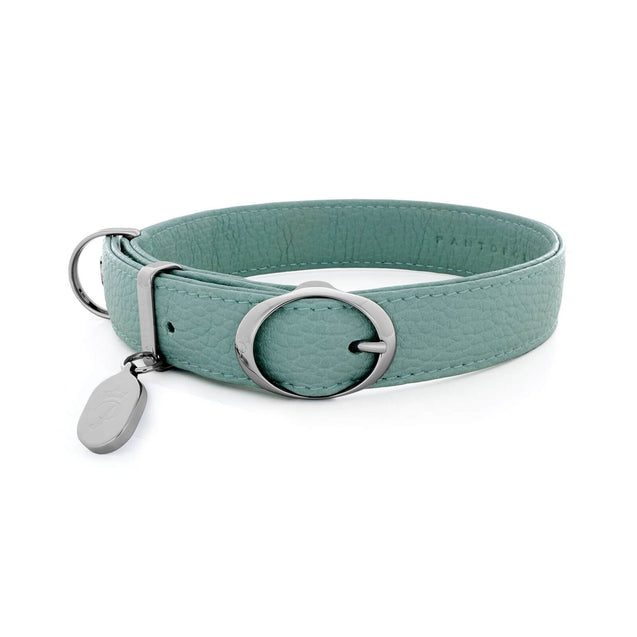 FURST - Necklace Caramelle high-end for medium and large dog in high quality Italian leather colored green water
