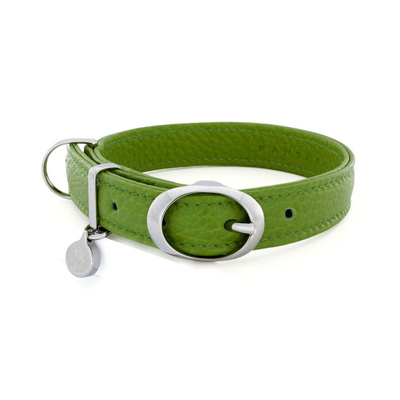 FURST - Collana Caramelle high-end per cane medio e grande in pelle italiana di alta qualità in colore verde