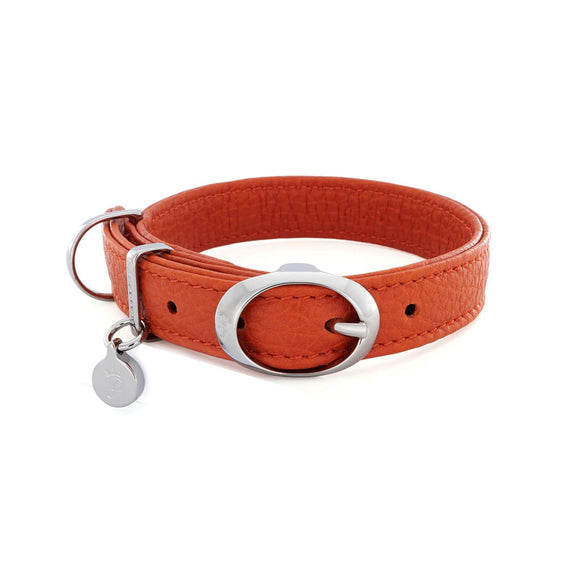 FURST - Necklace Caramelle high-end for small and medium high quality Italian leather dog in orange color