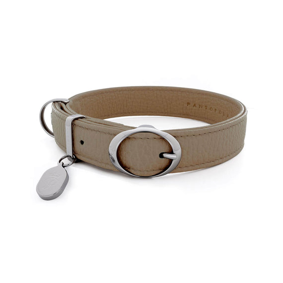 FURST - Necklace Caramelle high-end for small and medium high quality Italian leather dog taupe color