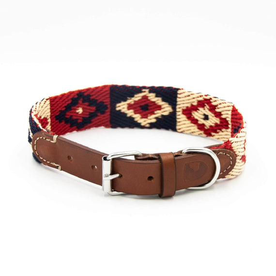 FURST - High-end Geronimo collar for medium and large dogs in red and blue vegetable tanned French leather