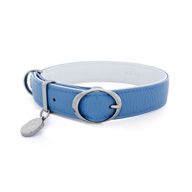 FURST - High-end Lido necklace for medium and large dog in high quality Italian leather in sky blue and white color