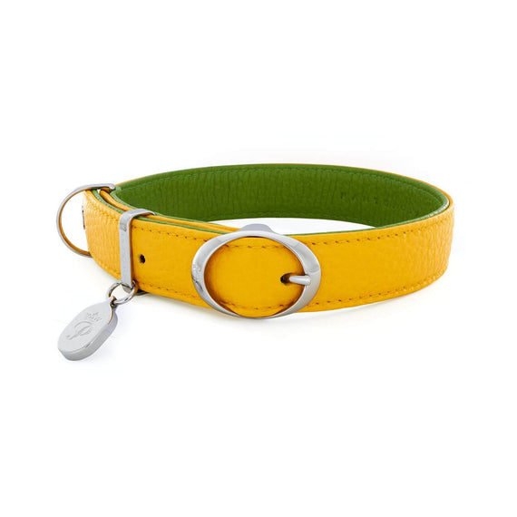 FURST - High quality Lido necklace for medium and large dog in high quality Italian leather in lemon and green color
