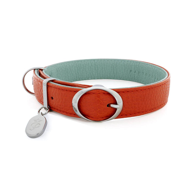 FURST - High-end Lido necklace for medium and large dog in high quality Italian leather in orange and green water color