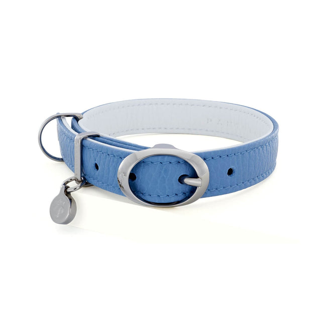 FURST - High-end Lido necklace for small and medium-sized dogs in high quality Italian leather in sky blue and white color