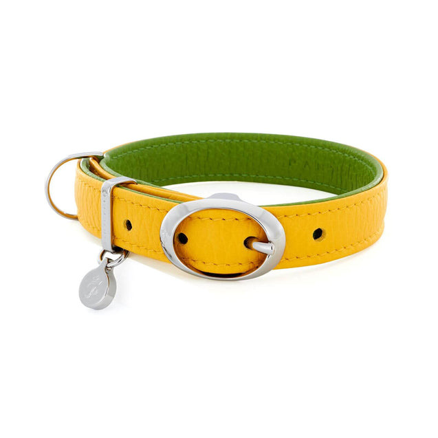 FURST - High-end Lido necklace for small and medium-sized dogs in high quality Italian leather in lemon and green color