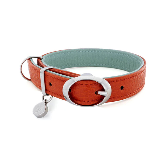 FURST - High-end Lido necklace for small or medium-sized dog in high quality Italian leather in orange and green water color