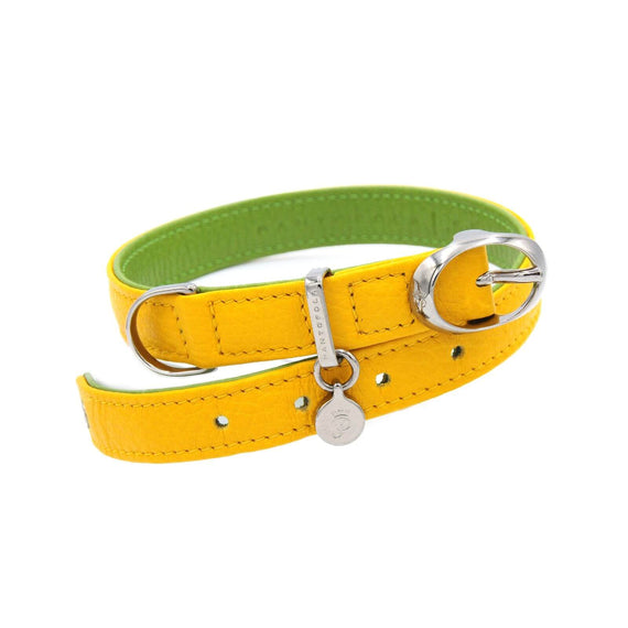 FURST - Very nice high quality dog ​​collar in high quality Italian leather in lemon and green yellow color