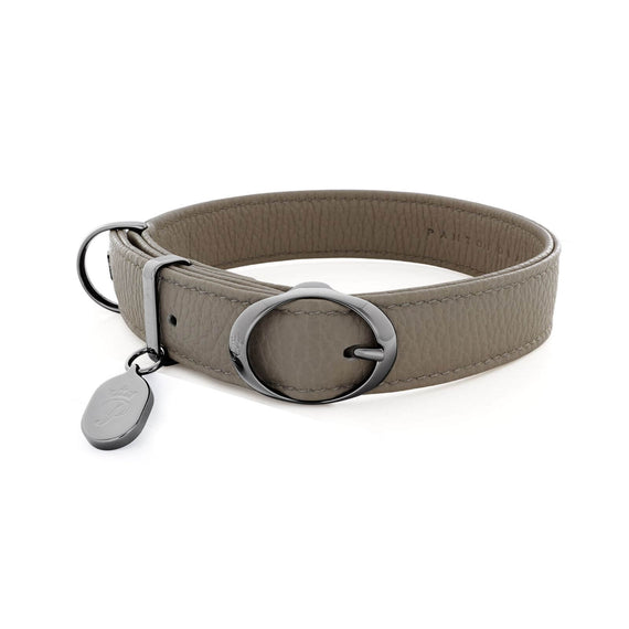 FURST - Necklace Mezzanotte high-end for medium and large dog Italian leather high quality gray color