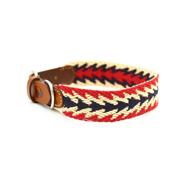 FURST - High-end Peruvian necklace for medium and large dog in French vegetable tanned leather and organic cotton braided high quality red color