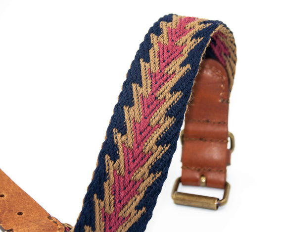 FURST - Beautiful handcrafted high-end Peruvian dog collar in French leather and organic cotton in blue color