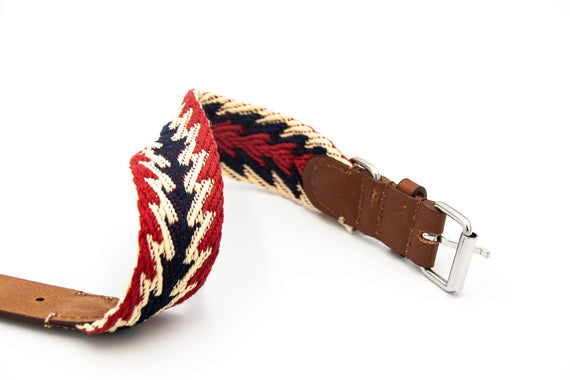 FURST - High-end Peruvian collar for medium and large dogs in French leather with vegetable tanning and red braided organic cotton
