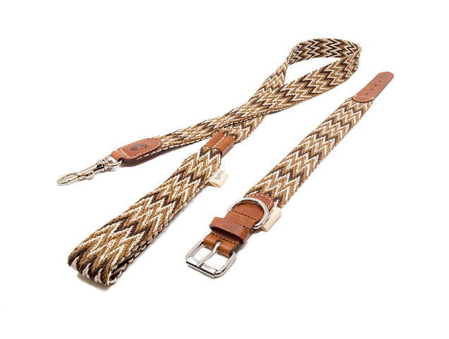 FURST - Very elegant high quality Peruvian necklace for dog in leather and organic cotton tessé in italy of brown color