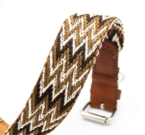FURST - High quality Peruvian necklace for medium and large dog in vegetable tanned leather and braided organic cotton in Italy in brown color
