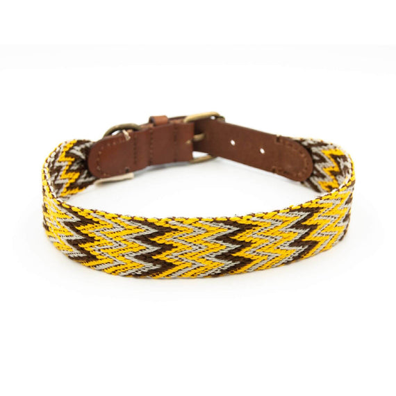 FURST - High-end Peruvian collar for medium and large dogs in French vegetable-tanned yellow and gold leather