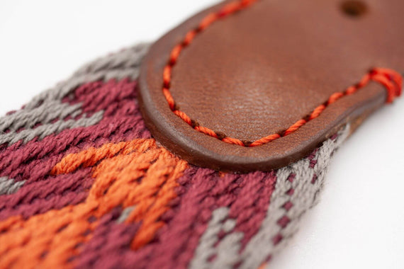 FURST - High-end Peruvian collar for medium and large dogs in orange vegetable tanned French leather