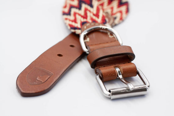 FURST - High-end Peruvian collar for medium and large dogs in red vegetable-tanned French leather