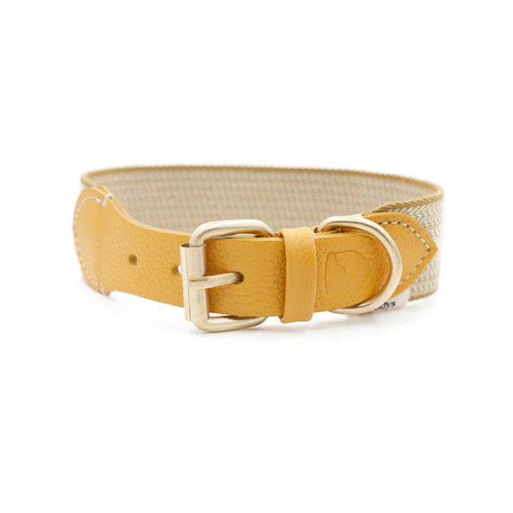 FURST - High-end Windsor collar for medium and large dogs in vegetable tanned leather and yellow and cream chevron weaving