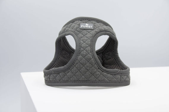 FURST - High-end Deschanel dog harness in quilted jersey in anthracite color