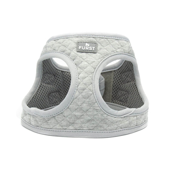 FURST - High-end Deschanel dog harness in silver quilted jersey