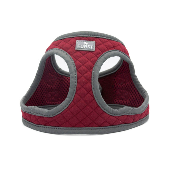 FURST - High-end Deschanel dog harness in burgundy and anthracite quilted jersey