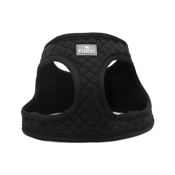 FURST - High-end Deschanel dog harness in quilted jersey in intense black color