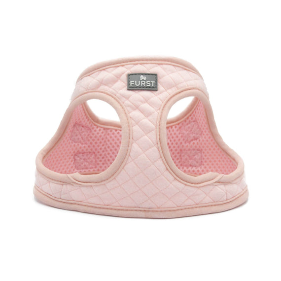 FURST - High-end Deschanel harness for dogs in quilted jersey in pompom pink color