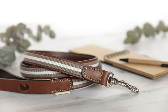 FURST - Very chic club leash upscale French vegetable leather and organic cotton woven in Italy gray color