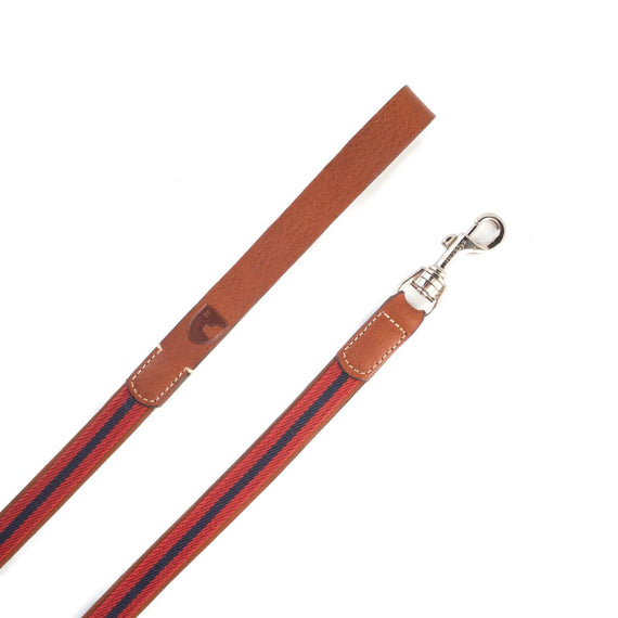 FURST - Premium club leash for medium and large dog in high quality French vegetable leather in red and blue color