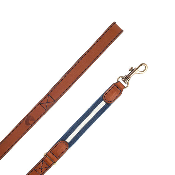 FURST - Premium leather leash for medium and large dog in French leather with high quality vegetable tanned and reinforced elastic blue color