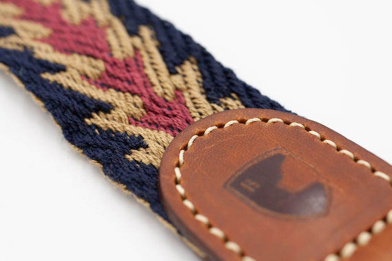 FURST - Leaves Peruvian inspiration high-end ethnic chic for medium and large dog in organic cotton and vegetable tanned leather in blue color