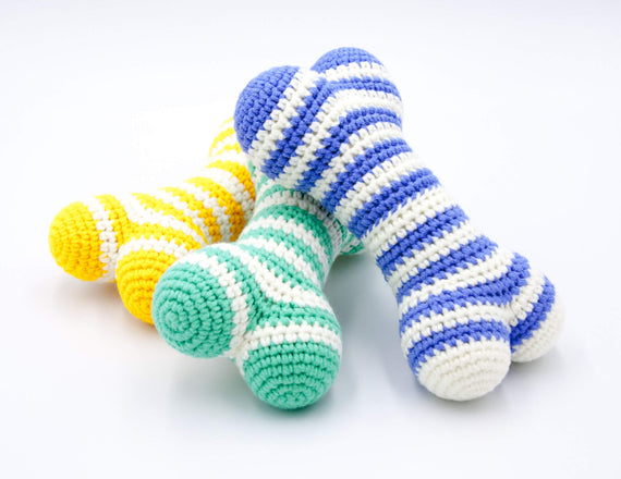 FURST - Atlas dog toys in the shape of bones of azure, water green and cobalt yellow colors