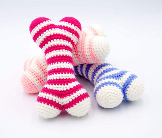 FURST - Atlas dog toys in the shape of bones in azure, raspberry and powder pink colors