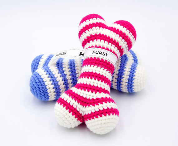 FURST - High end Atlas dog toys in raspberry and azure bones