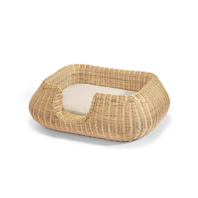 FURST - High-end mio basket for small rattan dog with its cream cushion