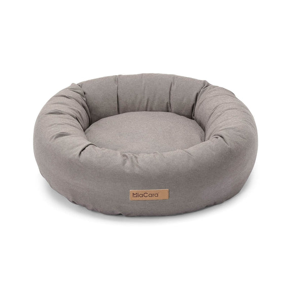 FURST - Comfortable Rondo dog basket in the shape of a taupe donut