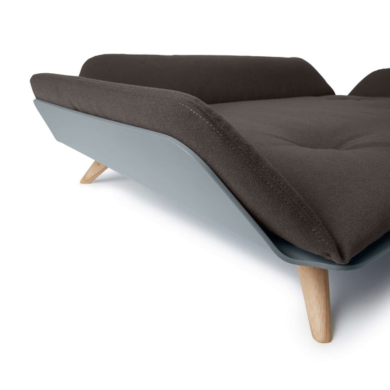 FURST - Corner preview of the Letto sofa for medium sized dog in sepia color