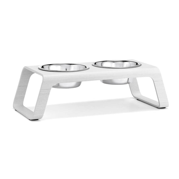FURST - Double bowls with high-end booster for medium white dog