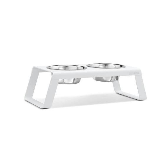FURST - Set of high-quality aluminum raised bowls for medium white dogs
