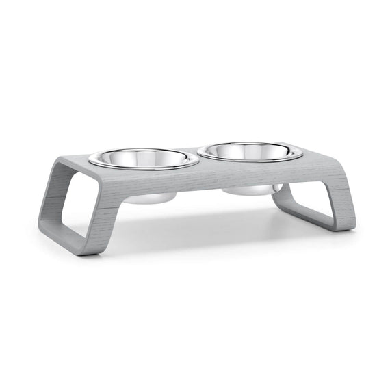 FURST - Double bowls with high-end booster for small dog of gray color