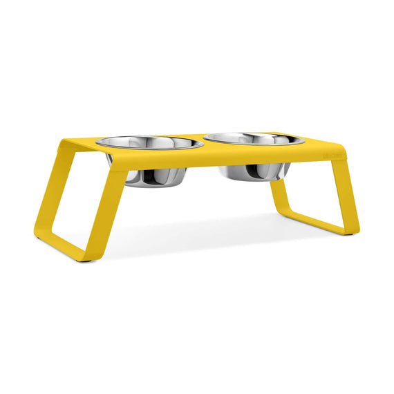 FURST - Set of raised high-end aluminum bowls for large dog of yellow color